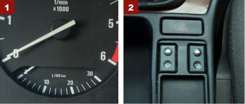 """[1] Mechaniczny """"ekonomizer"""" pokazuje chwilowe zużycie paliwa. [2] Przełączniki szyb pośrodku: tradycja BMW przez wiele lat. /Motor"""