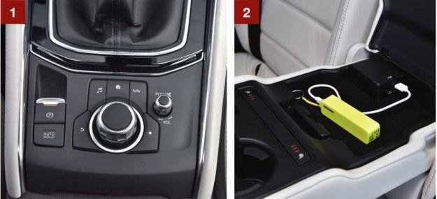 [1] Multimedia obsługuje się (intuicyjnie) za pomocą pokrętła i przycisków. [2] W podłokietniku odchylanym z oparcia drugiego rzędu siedzeń znajdują się dwa gniazda USB i przyciski podgrzewania kanapy. /Motor