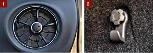 [1] Nowe dysze nawiewów są bardzo efektowne. Otwiera się je i zamyka, przekręcając niewielkie pokrętło pośrodku. [2] Hak na zakupy (jeden) wygląda niezbyt pięknie, ale spełnia swoją rolę. /Motor