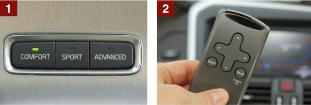 [1] Opcja: aktywne zawieszenie. Zmienia się charakterystyka amortyzacji. [2] Niezbyt praktyczne: pilot obsługi multimediów. /Motor
