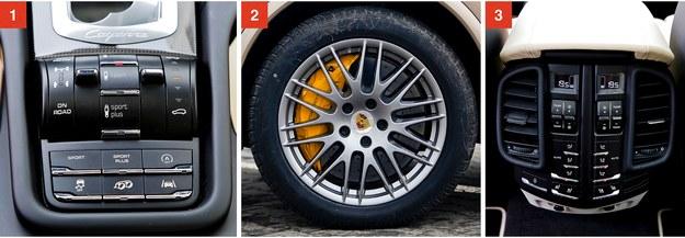 [1] Panel ustawień układu jezdnego i wydechu (w głośniejszym trybie włącza alarmy w mijanych autach). [2] Ceramiczne hamulce szczelnie wypełniają 20-calowe felgi testowanego auta. Przednie tarcze mają 420 mm i aż 10-tłoczkowe zaciski. [3] Za dopłatą można też mieć czterostrefową klimatyzację. /Motor