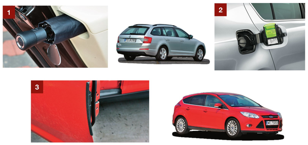 [1] Parasol ukryty w boczku drzwi – Skoda Superb. [2] Skrobaczka w klapce wlewu paliwa (Skoda Octavia). [3] Wysuwany odbojnik drzwi – Ford Focus III generacji. /Motor