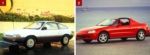 [1] Pierwsza generacja, znana także jako Honda Civic CRX i Honda CRX Ballade. [2] Kolejna generacja to 2-miejscowy Civic Del Sol (1992 r.). Był rynkową porażką. /Honda