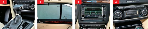 1. Po zakupie używanego Superba z DSG warto wymienić olej i zaktualizować oprogramowanie. 2. Rolety szyb w drzwiach tylnych w wersji Family i w większości innych bogatych odmian. 3. Zestaw audio Bolero – w wersji Elegance – gra dobrze, ale nie jest wyposażony w Bluetooth. 4. Popularne wyposażenie: dwustrefowa klimatyzacja oraz podgrzewane siedzenia. /Motor