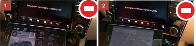 1. Popularna aplikacja Yanosik nie może być używana podczas jazdy samochodem. 2. Z map i nawigacji Google też można korzystać tylko na postoju. Po ruszeniu autem obraz na ekranie samochodu się wyłączył. /Motor
