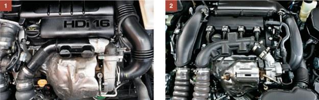 [1] Popularny diesel 1.6 HDi nie sprawia większych problemów. [2] Wersja benzynowa 1.6 THP zaskakuje niską żywotnością łańcucha rozrządu. /Motor