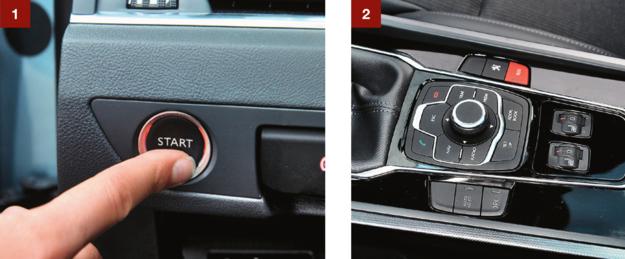 [1] Przycisk uruchamiania silnika jest po lewej stronie kokpitu. [2] Do sterowania multimediami służą pokrętło i przyciski. /Motor
