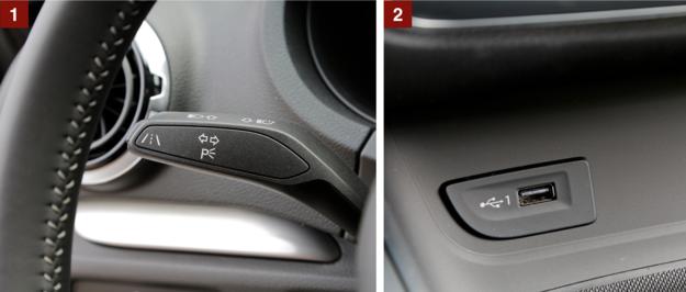 [1] Przyciskiem na dźwigience kierunkowskazów uruchamia się asystenta pasa ruchu. [2] Nowość – jedno z dwóch wejść USB (opcja) umieszczone u dołu konsoli środkowej. /Motor