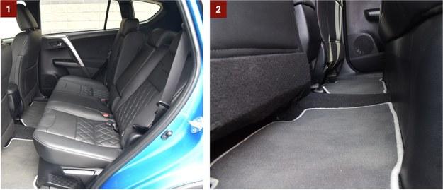 [1] Regulacja kąta pochylenia oparcia kanapy pozwala wygodnie usiąść nawet wysokim podróżnym. [2] Środkowy pasażer z tyłu nie ma powodow do narzekań – tunelu właściwie brak, a kabina jest dość szeroka. /Motor
