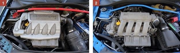 [1] RENAULT CLIO SPORT II Wymiana oleju – co 15 000 km, wymiana rozrządu – co 60 000 km. Zwlekać nie wolno. Na zdjęciu wersja 169 KM. [2] RENAULT CLIO SPORT II FL Wersja 180-konna. Również bardzo trwała. Pod maską jest strasznie ciasno – to utrudnia naprawy. /Motor
