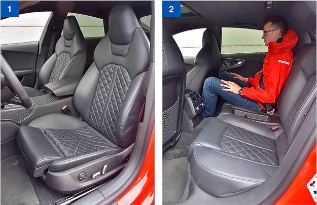 [1] Sportowe fotele – wygodne i dobrze wyprofilowane – są seryjne w 3.0 TDI competition. [2] Z tyłu miejsca wystarczy dla 2 osob o wzroście do 185 cm. Wyższym lub trójce będzie ciasno. /Motor