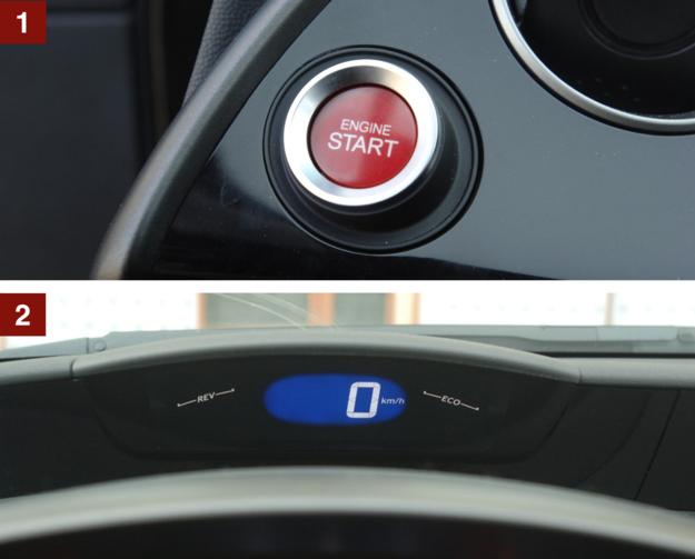 [1] Starterem jest przycisk, umieszczony po lewej stronie. [2] Cyfrowy prędkościomierz jest widoczny nad kierownicą. /Motor