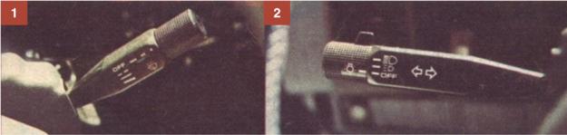 [1] Szybkość pracy wycieraczek regulowana jest pokrętłem potencjometru umieszczonym w dźwigni włączającej wycieraczki. [2] Wygodnym pokrętłem umieszczonym w przełączniku kierunkowskazów włączane jest oświetlenie zewnętrzne. /Motor
