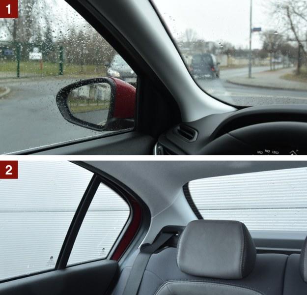 [1] Widoczność w przód ograniczają szerokie słupki i zlewające się z nimi lusterka. [2] Do tyłu widać sporo, za to trudno odgadnąć, gdzie kończy się auto. Przydaje się kamera. /Motor