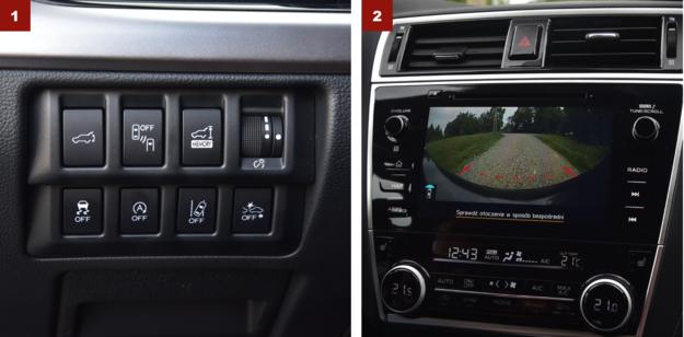 [1] Większość systemów bezpieczeństwa auta obsługuje się na panelu umieszczonym z lewej strony deski rozdzielczej. [2] Kamery ułatwiają manewrowanie, ale nie zawsze zastąpią nieoferowane czujniki parkowania. /Motor