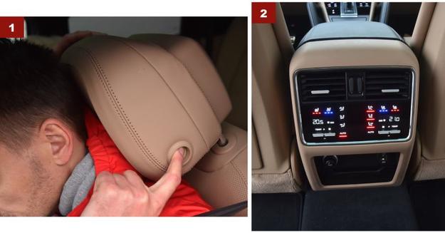 """[1] Wszechstronna regulacja siedzeń, w tym 2-płaszczyznowa zagłówków.  [2] """"Pełna"""" klimatyzacja 4-strefowa, podgrzewana i wentylowana kanapa. /Motor"""