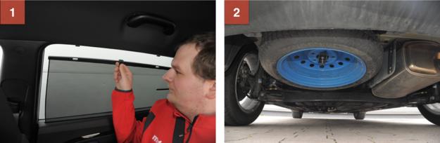 1. Wysuwane rolety przeciwsłoneczne w połączeniu z przyciemnionymi szybami skutecznie chronią przed słońcem. 2. Dojazdówka zamontowana pod podłogą – idealne rozwiązanie w 7-osobowym samochodzie. /Motor