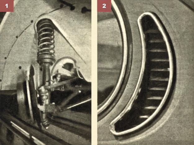 [1] Zwrotnica kolumnowa w całej okazałości. Hamulce tarczowe tylko w modelu 1302 S, w modelu mniejszym za dopłatą. [2] Chrabąszcze mają obecnie wywietrzniki słupkowe za bocznymi oknami. /Volkswagen