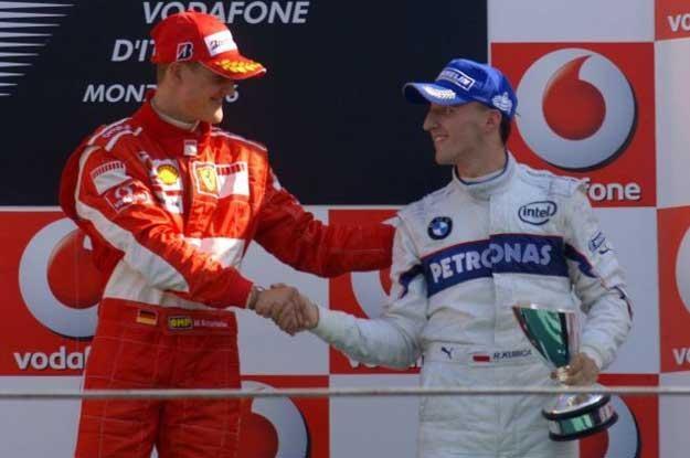 10 września 2006. Schummi gratuluje Kubicy 3 miejsca w GP Włoch /AFP