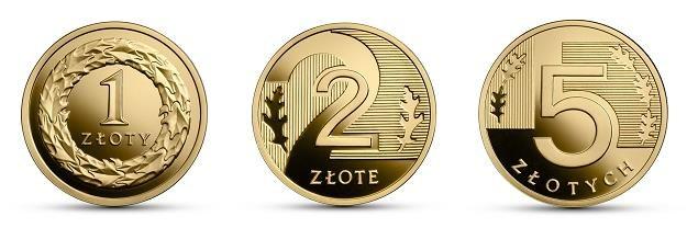 100 lat złotego, 1 zł (L), 2 zł (C) i 5 zł (P), rewers, złoto /NBP