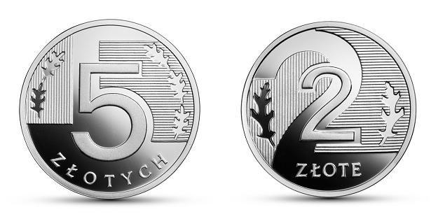 100 lat złotego, 5 zł (L) i 2 zł (P), rewers, srebro /NBP
