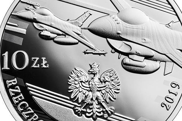 100-lecie polskiego lotnictwa wojskowego, 10 zł, detal awersu /NBP