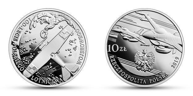 100-lecie polskiego lotnictwa wojskowego, 10 zł, rewers (L) i awers (P) /NBP