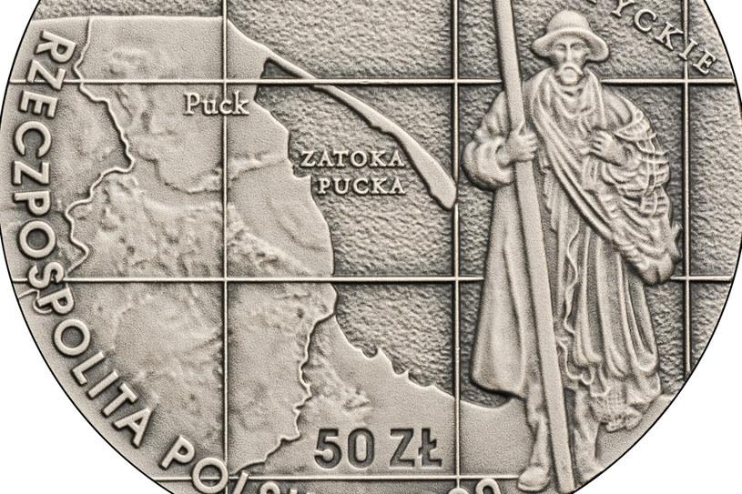 100-lecie zaślubin Polski z Bałtykiem, 50 zł, detal awersu /NBP