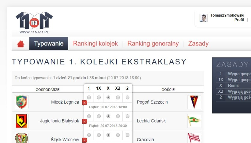 11na11.pl Tomasz Smokowski już  wytypował Ekstraklasę! A Ty?