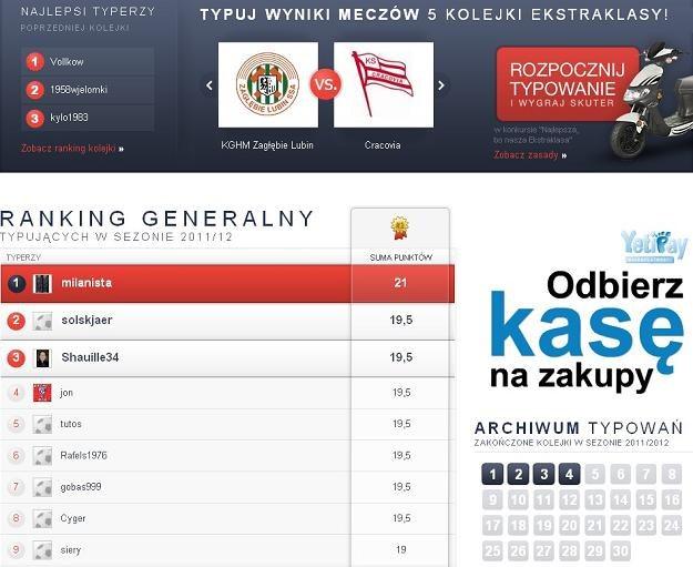 11na11.pl - Zarejestruj się i typuj wyniki Ekstraklasy już teraz! /INTERIA.PL