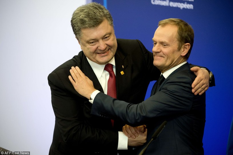 12.02.2015, Prezydent Ukrainy Petro Poroszenko i Donald Tusk w Brukseli /JOHN THYS /East News