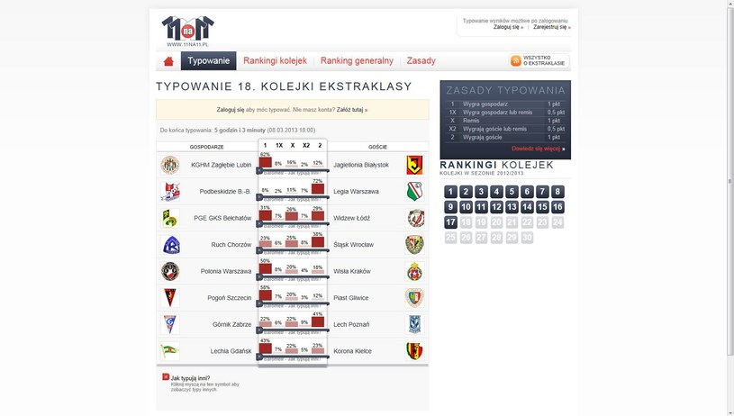 18. kolejka T-Mobile Ekstraklasy - tak typują użytkownicy serwisu 11na11.pl /INTERIA.PL