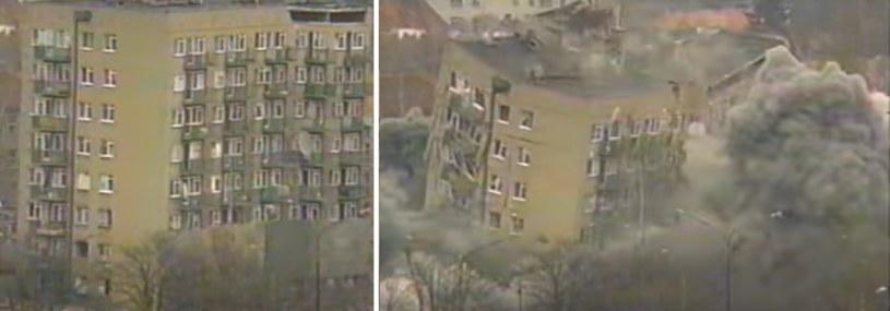 18 kwietnia 1995 roku, tuż przed 13:00 wyburzono wieżowiec, który dzień wcześniej uległ nieodwracalnej destrukcji /YouTube