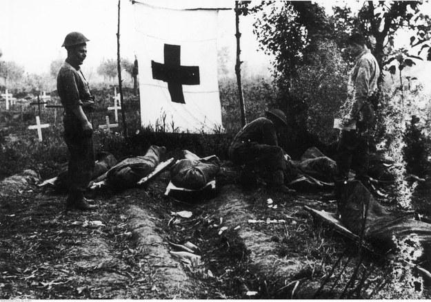 2 Korpus Polski w bitwie o Monte Cassino. Grzebanie poległych na prowizorycznym cmentarzu w Acquafondata /Z archiwum Narodowego Archiwum Cyfrowego