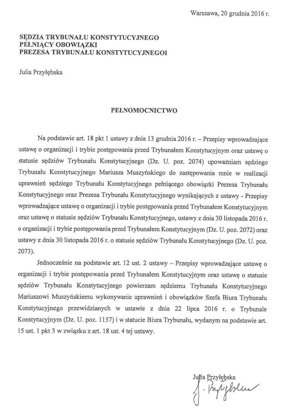 20 grudnia sędzia Julia Przyłębska upoważniła Mariusza Muszyńskiego do zastępowania jej w roli prezesa TK /Zrzut ekranu