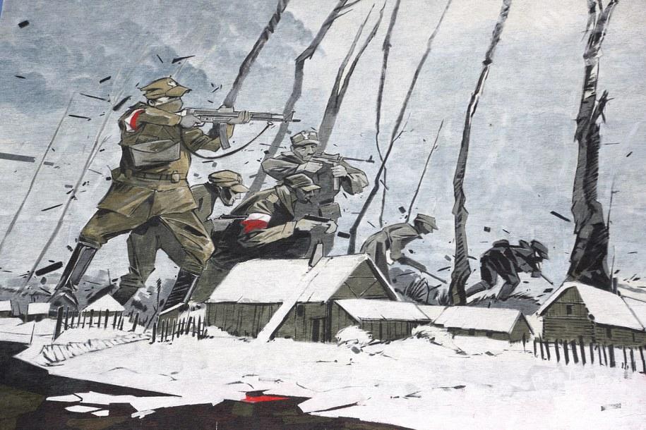 200-metrowy mural ukazujący Żołnierzy Wyklętych. Mural powstał rok temu na warszawskim Ursynowie / Tomasz Gzell    /PAP
