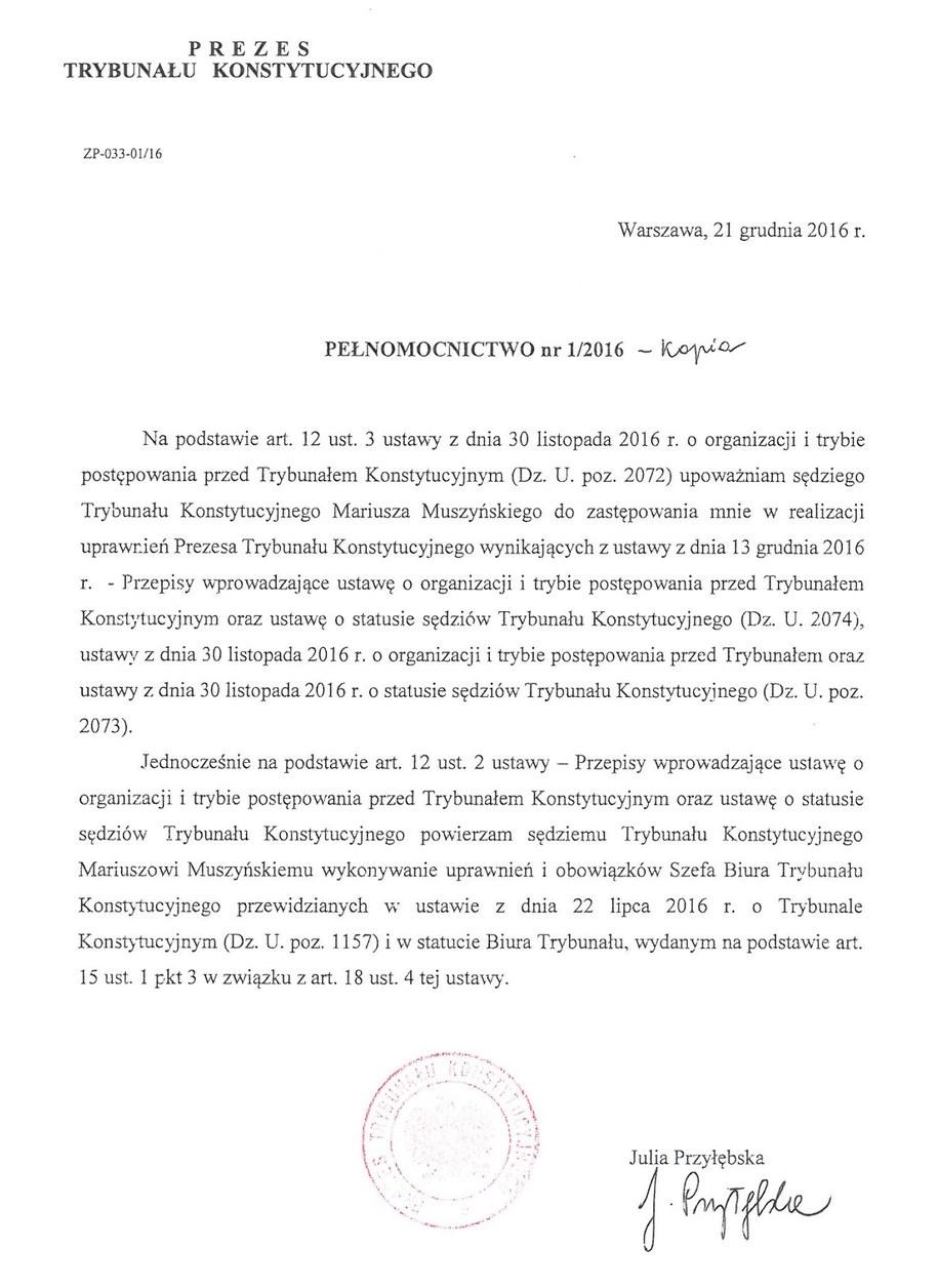 21 grudnia Julia Przyłębska upoważniła Mariusza Muszyńskiego do zastępowania jej w roli prezesa TK /Zrzut ekranu