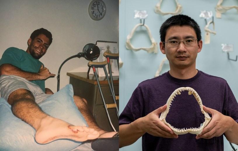 21-letni surfer w 1994 roku (z lewej) i Lei Yang, który zbadał DNA z zęba rekina /Florida Museum /materiały prasowe