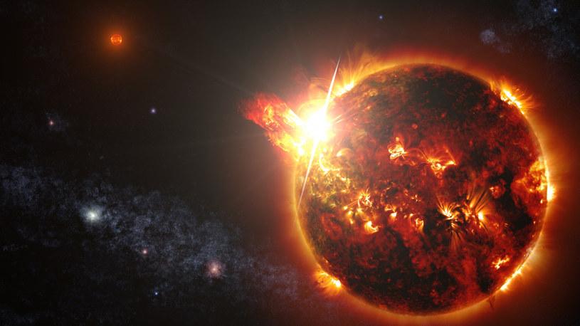 """23 kwietnia 2014 satelita NASA uwieczniła najpotężniejszy, najjaśniejszy i najdłuższy """"solar flare"""", jaki kiedykolwiek udokumentowano - na szczęście zjawisko powstało nie na Słońcu, a na jednym z czerwonych karłów obserwowanych przez NASA /NASA/Sipa USA /East News"""