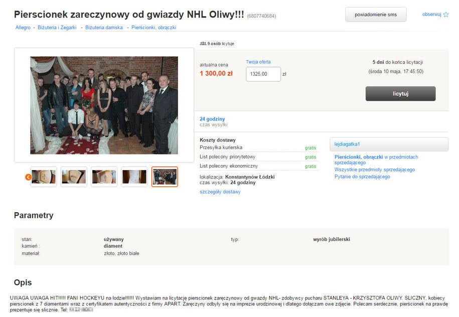 25-letnia modelka Agata Cieplucha wystawiła na internetowej aukcji pierścionek zaręczynowy od - jak twierdzi - byłego hokeisty, drugiego Polaka w NHL, Krzysztofa Oliwy /Allegro /Zrzut ekranu