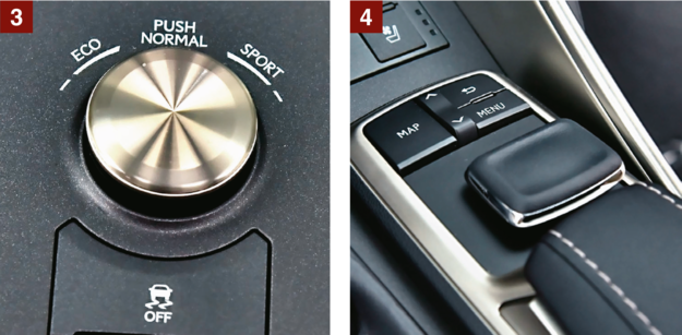 [3] Do wyboru: 1 z 3 trybów jazdy. ESP wyłącza się całkowicie. [4] Multimedia obsługuje się nie pokrętłem, a tym joystickiem. /Motor