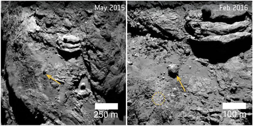 30-metrowy głaz ważący 12800 ton, przesunął się o blisko 150 metrów. Zdjęcia z 2 maja 2015 roku (po lewej) i 7 lutego 2016 roku /materiały prasowe
