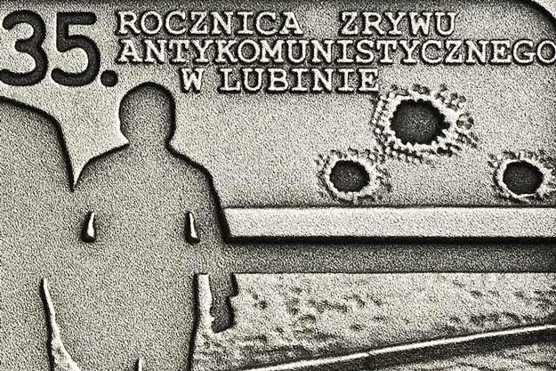 35. rocznica zrywu antykomunistycznego w Lubinie, detal rewersu /NBP
