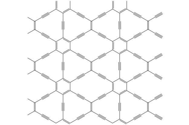 6,6,12 grafyn ma prostokątną symetrię i może przewodzić elektrony jednokierunkowo /materiały prasowe