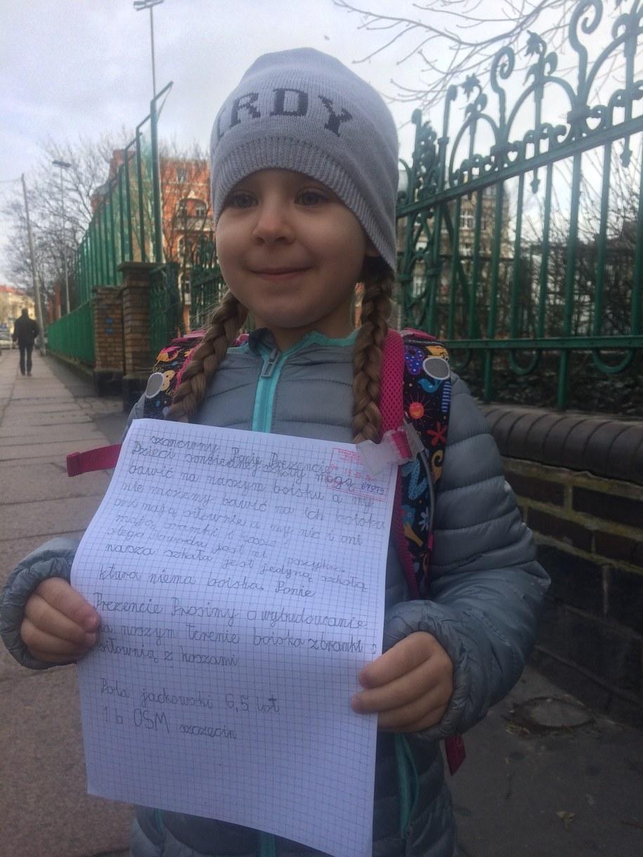 6-letnia Pola pisze list do prezydenta Szczecina /Aneta Łuczkowska /RMF FM