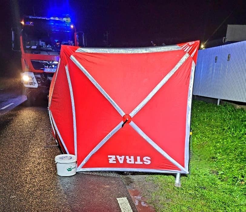60-latek zginął na miejscu (Źródło: Facebook/OSP Ujazd) /facebook.com
