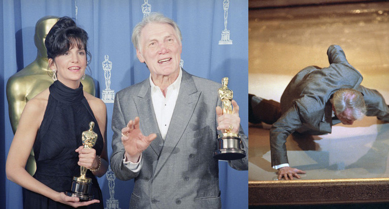 73-letni Jack Palance po odebraniu statuetki z wrażenia zaczął robić na scenie pompki na jednej ręce /East News