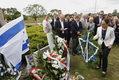 Wiceambasador Izraela Ruth Cohen-Dar (P) podczas uroczystości przy pomniku ku czci pomordowanych Żydów