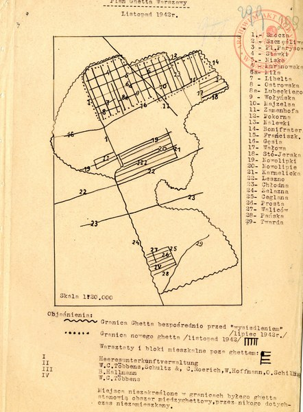 Plan getta warszawskiego, listopad 1942 rok; Delegatura Rządu RP na Kraj, sygn. 202/XV/2,s. 299