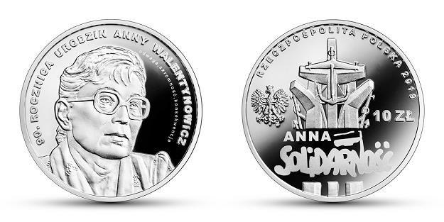 90. rocznica urodzin Anny Walentynowicz, 10 zł, rewers (L) i awers (P) /NBP